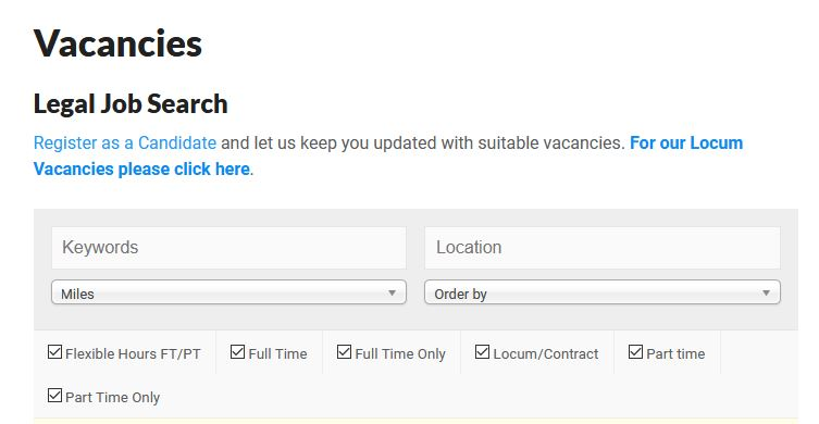 Search Legal Job Vacancies - click here